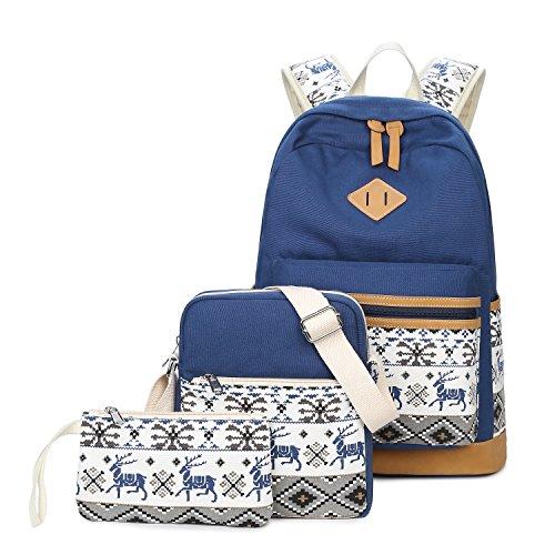 Casual Canvas Schulrucksack Set+Schultertasche +Geldbeutel/Mäppchen Rucksack Freizeitrucksack Daypacks Backpack für Mädchen Jungen & Kinder Jugendliche Damen Herren (Blau-3pcs)