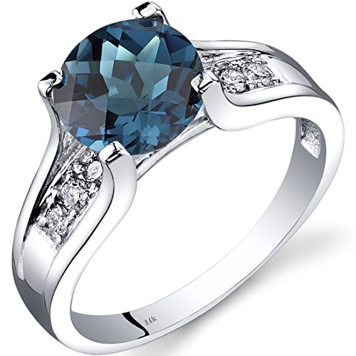 Peora London Blue Topaz and Diamond Ring in 14K White Gold, 2.25 Carats total, Cathedral Design, Round Shape Solitaire Engagement, Round Shape, 8mm, Comfort Fit, Size 6 Comfort Fit Solitaire Setting