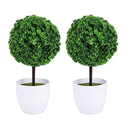 Garneck 2 Piezas de Plantas Artificiales en Maceta Mini Boj Topiary Hierba Verde Bola Verde en Macetas Pequeñas Plantas para El Hogar Decoración de Mesa de Oficina Interior Centro de Mesa
