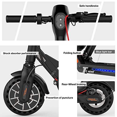 Mega Motion E-Scooter Klappbar Elektroroller Scooter Geschwindigkeit Erwachsene bis 30 Km/h 8.5 Zoll aufblasbares LCD-Display Tragbar Vorderen und Hinteren Rückleuchten(Black) - 8