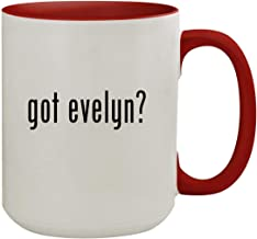 got evelyn? - 15oz Colored Inner & Handle Ceramic Coffee Mug, Red
