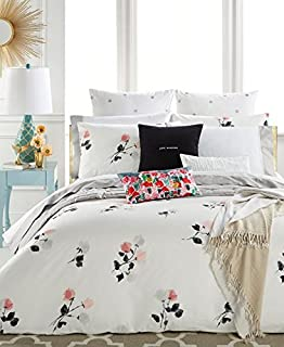 Kate Spade Willow Court Queen Full Duvet Cover Set, Pink Peach Black Floral on White