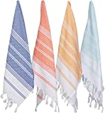 (Set of 4) Unique Hand Face Towel Set Turkish Cotton 20'x31' Pestemal Peshtemal Fouta Towel Kitchen Bath Spa Pool Massage Sauna Beach Yacht Gym Fitness Yoga Picnic Beach Travel Light Baby Unisex Towel - Multicolor