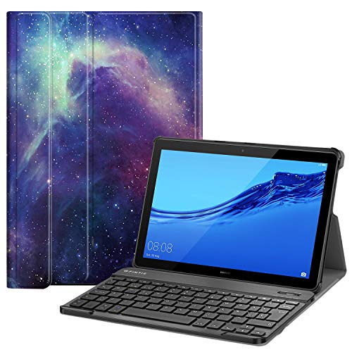 Fintie Funda con Teclado Español Ñ para Huawei Mediapad T5 10 - Carcasa SlimShell con Soporte y Teclado Español Bluetooth Inalámbrico Magnético Desmontable, Galaxia