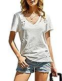 imesrun Womens Short Sleeve V Neck Shirts Distressed Casaul High Low Tee Tops with Side Slit Beige Medium