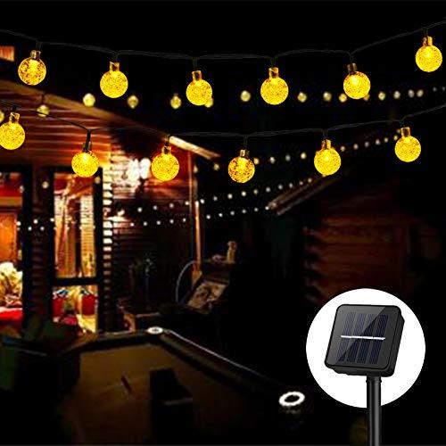 Solar Lichterkette Kristall Kugeln,Cshare 50 LED 7M 8 Modi Wasserdicht Außer/Innen Lichter Beleuchtung für Garten, Bäume, Terrasse, Weihnachten, Hochzeiten, Partys (warmweiß)