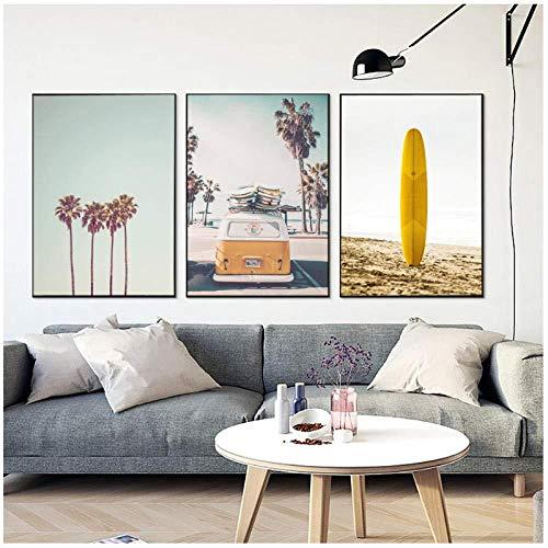 Cartel del paisaje tropical Impresiones modernas Mar Beach Bus Tabla de surf Arte de la pared Pintura de la lona Decoración nórdica del hogar Imagen 50x70cmx3 Sin marco