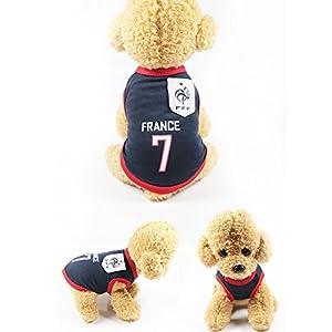 Vêtement de design de l'Equipe de football pour les petits chiens, T-shirt costume de l'Equipe de nation de football de Coupe du monde 2018, un cadeau parfait pour votre chien du printemps ou en été