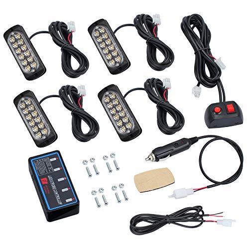 4pcs 12LED Warnlicht Frontblitzer Orange 12/24V IP65 Wasserdicht mit 8 Blinkmodi, Notfall Warnung Licht Stroboskoplicht für LKW, Pickups, Traktoren, Gabelstapler