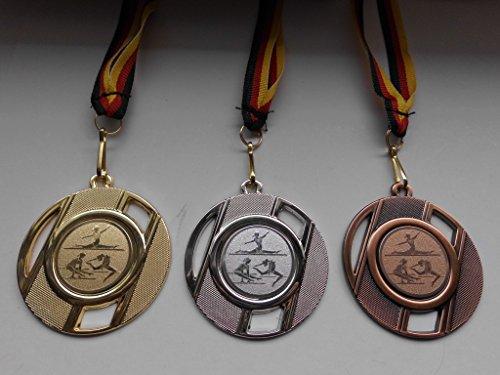 Fanshop Lünen Medaillen Set - Metall 50mm - Turnen - Gold Silber Bronze - Bodenturnen - Kinder - Gymnastik - Emblem 25mm - Gold, Silber, Bronce - Medaillenset - mit Medaillen-Band - (e257) -