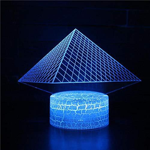 Pyramide Gebäude Hologramm 3d Lampe Nachttischlampe, 7 farben Nachtlicht fürs Kinderzimmer,Schlafzimmer Schreibtischlampe für Kids'Gifts Home Dekoration