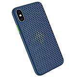 Funda Compatible con Silicone Case para iPhone X, Carcasa de Silicona Suave Antichoque Bumper Anti-Sobrecalentamiento Case para iPhone XS, Azul