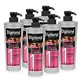 DIPLONA Champú para cabello teñido y teñido, champú profesional para mujeres, vegano, sin siliconas ni parabenos, 6 unidades de 600 ml