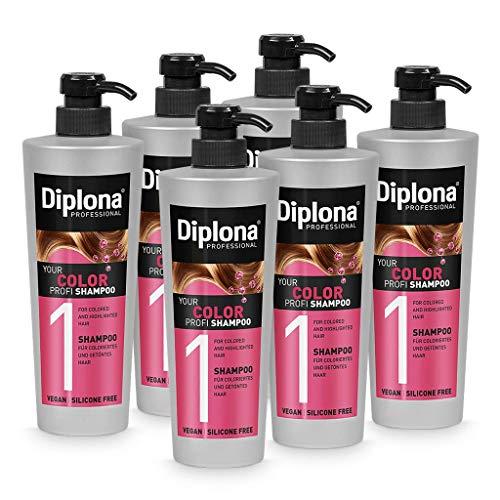 DIPLONA Shampoo für coloriertes & getöntes Haar - YOUR COLOR PROFI Shampoo für Frauen - veganes Haarshampoo ohne Silikone & Parabene - Damen Haarpflege 6x 600 ml