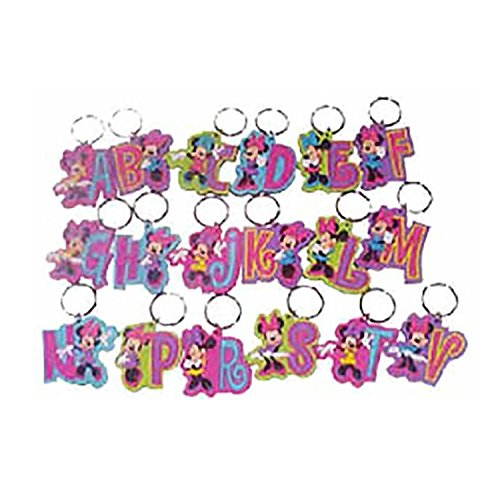 Disney Minnie Mouse Initial Rubber Laser Cut Key Chain (A)