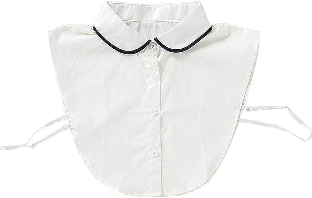 YOUSIKE Neck Chain, Korean Women Winter Autumn Black Edge Round Lapel Fake Collar Button Down Square Neckline Sweater Detachable Half-Shirt Blouse