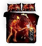 WXYGJYG Funda de edredón 3 Piezas Música Flame Rock 240 x 220 cm, Conjunto de edredón Microfibra hipoalergénica Ultra Suave con Juego de Cama Cremallera y 2 Fundas de Almohada