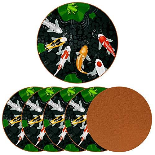 Posavasos para bebidas, Koi Carp y Lotus Leave Frog In Pond Print Cuero, diseño redondo de taza de cuero para proteger muebles, resistente al calor, decoración de bar de cocina, juego de 6