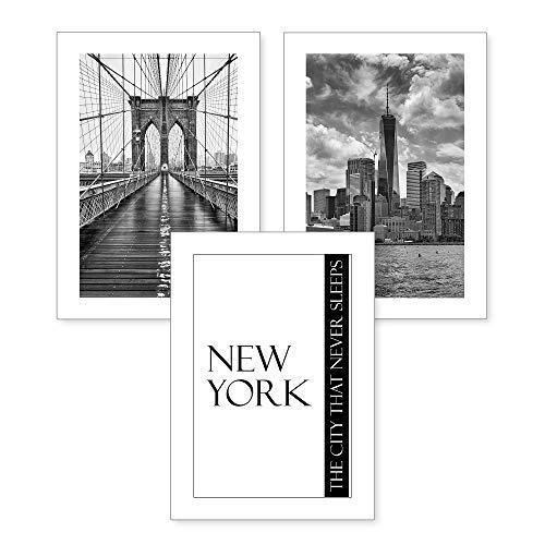 3-teiliges Premium Poster-Set | Kunstdruck | NEW YORK CITY | Deko Bild für Ihre Wand | optional mit Rahmen | Wohnzimmer Schlafzimmer Modern Fine Art | DIN A4 / A3 (A4, ohne Rahmen)