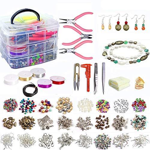 Jolitac Juego de 1200 piezas de joyería para hacer pulseras, abalorios, hallazgos, alicates de joyería, alambre de cuentas para collares, pulseras, pendientes y reparación, regalo para mujeres