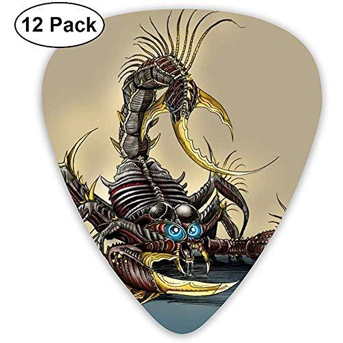 Paquete de 12 púas de guitarra, juego de púas de guitarra de celuloide Scorpion para guitarra eléctrica acústica Ukelele de mandolina bajo 0.46 mm 0.71 mm 0.96 mm