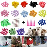 JOYJULY Soft Cat Kitty Nail Caps Claws Covers for Cats Paws Grooming Claw Care, 100pcs 4 Size of 1 Glitter Shinning & 4 Solid Colors & 5 Glues, Small