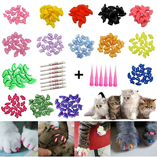 JOYJULY Soft Cat Kitty Nail Caps Claws Covers for Cats Paws Grooming Claw Care, 100pcs 4 Size of 1...