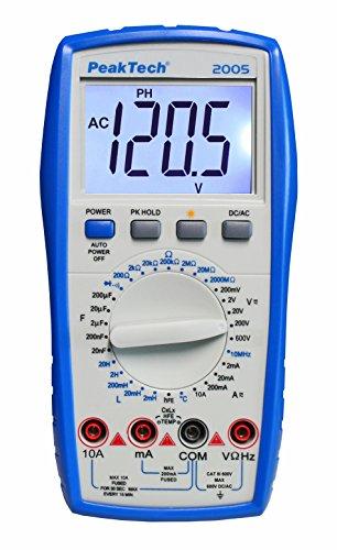 PeakTech 2005 – RMS Digitales Multimeter, Durchgangsprüfer, Strom, Induktivität, Messgerät, Spannungsmesser, Handmultimeter, Voltmeter, Elektronisches Strommessgerät, LCD-Anzeige - CAT III 600 V