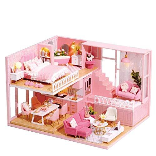 XZJJZ Casa de muñecas con Muebles en Miniatura, Prueba de Bricolaje Dollhouse Kit Plus Polvo y Movimiento Música, 01:24 Idea Creativa Escala de Habitaciones (Dream Angels) (Size : with Dust Cover)