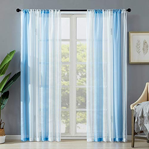 Blue White Stripe Sheer Window Curtain Panels Thermal Insulated Living Room Drapes 84 Inch Length Simple Modern Voile Privacy Curtain for Bedroom 2 Pack Rod Pocket Farmhouse Window Treatment
