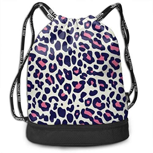 Petrichor Yi Unisex Kordelzug Rucksack Gepard Hot Pink und Blau Leopard Sport Gym Travel Bundle Rucksack Tasche