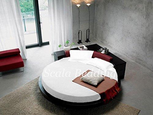 SCALABEDDING redondo de cama de algodón egipcio 100% 400Queen blanco 84cm de diámetro