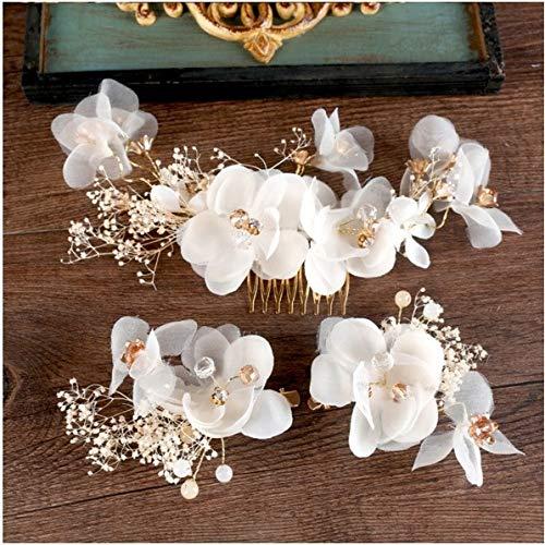 ASDAHSFGMN Brauthaar-Zusätze New White Immortal Krepp-Blumen-Kamm Spange Sets Braut Kopfbedeckung Brauthaar-Zusätze