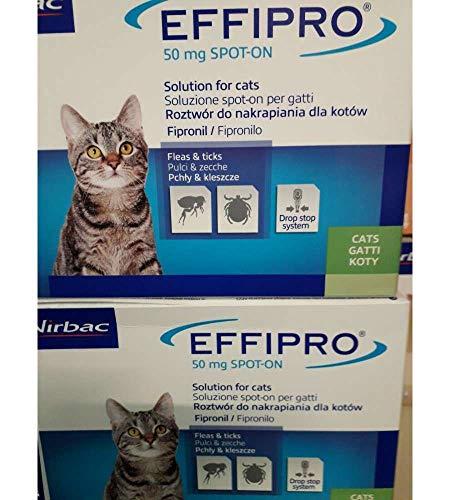 Virbac 104069012 EFFIPRO  CAT 4PIP - Antiparassitario per Gatti, Confezione da 4 Pipette