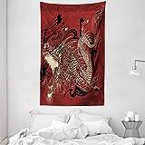 ABAKUHAUS orientalisch Wandteppich & Tagesdecke, Japanische Drachen Doodle aus Weiches Mikrofaser Stoff Waschbar ohne Verblassen Digitaldruck, 140 x 230 cm, Elfenbein