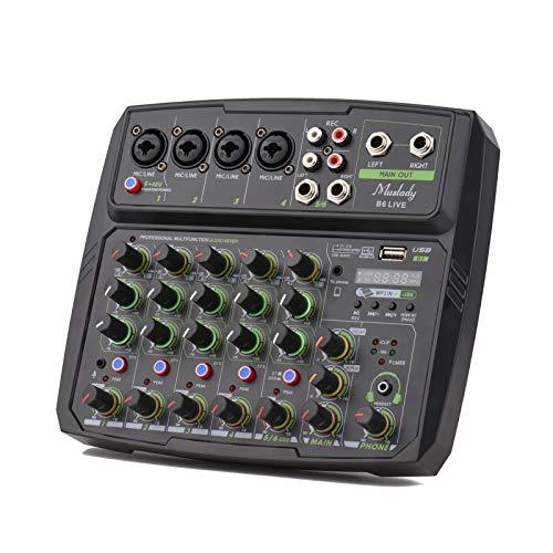 Muslady Audio Sound Mixer 6-Kanal Mischpulte Mischkonsole kabellose Verbindung mit 2-Band EQ Gain Delay Repeat Control Live-Broadcast-Funktion aufzeichnen mit + 48V Phantomspeisung