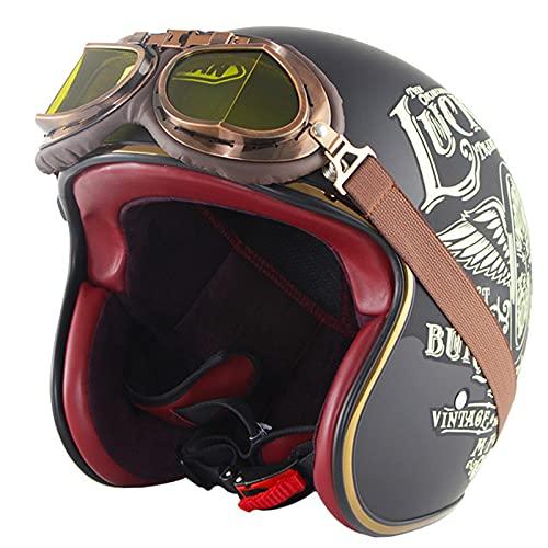 Metà Aperto Faccia Caschetti,Riduzione Rumorosa Traspirante Robusto Casco Moto Jet,Con Stile Vintage Retrò Occhialoni Moto per Harley, Adulto Uomo E Donna Motociclo Helmets, Certificato Dot,1,2XL