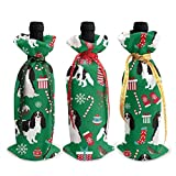 Christmas Wine Cover,Cav Tri Xmas - Cubierta De Botella De Vino Verde, Atractivo Regalo Novedoso, Bolsas De Cubierta De Botella De Vino Para Reuniones De Bodas,3pcs/set