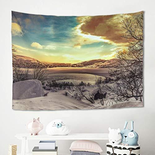 Gamoii Tapiz de pared con paisaje y puesta de sol, para picnic, playa, yoga, decoración de pared, color blanco, 150 x 150 cm