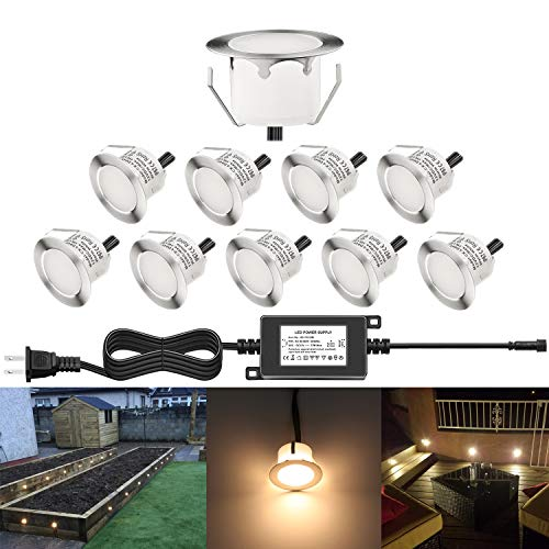 CHNXU 10 Pack LED Deck Lighting Kit with Transformer, Warm White IP67 Waterproof Φ1.77