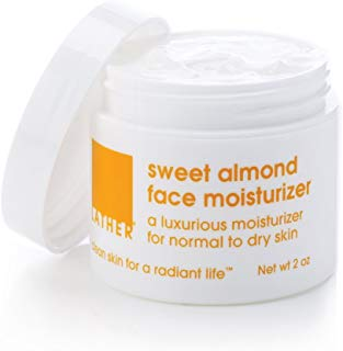 LATHER Sweet Almond Face Moisturizer 2 oz - luxurious hydrating daily face moisturizer for dry or mature skin