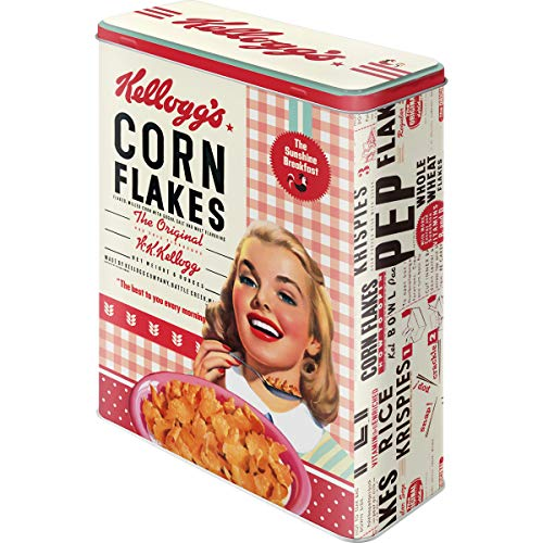 Nostalgic-Art 30324, Kellogg's Girl Corn Flakes Collage, Vorratsdose XL, Metall, 19 x 8 x 26 cm, 2-Einheiten