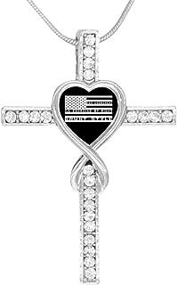 Womens Mens 2ND Amendment American Flag 2ND Amendment American Flag Heart Shaped Cross Necklace