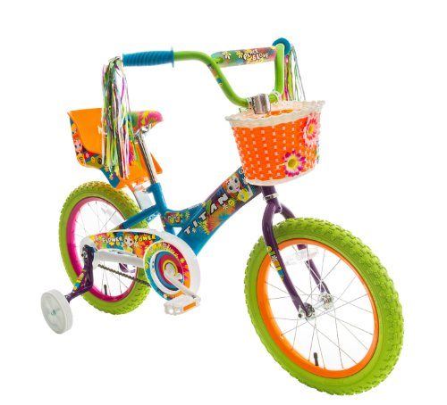Titan Bikes Flower Power Princess 16u0022 Kids Bike - Blue/Green