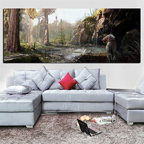 wZUN Tigre Blanco en el Bosque Pintura al óleo impresión Obra de Arte Moderna Imagen Mural en Lienzo sofá Sala de Estar 50X100cm