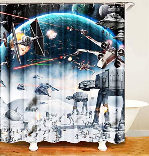LGY Haus Dekoration. Vorhang. Duschvorhang 180X180Cm. 3D Hd-Druck. Geben Sie 12 Haken Frei. Wasserdicht. Polyester Fabrik. Star Wars.