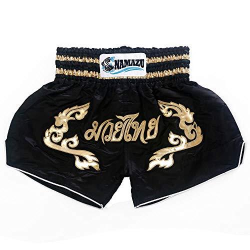 NAMAZU Muay Thai Shorts for Men and Women, High Grade MMA Gym Boxing Kickboxing Shorts Workout Training Grappling Martial Arts Fight Shorts Clothing. Black