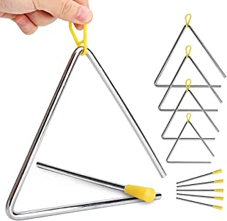 """5 Pack Hand Percussion Instrument Triangles with Striker for Music Triangle Children Music Enlightenment - 5 Size (4"""" 5"""" ..."""