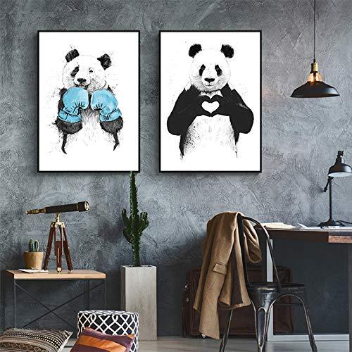 tzxdbh Grappig Boksen Panda Dier Banksy Canvas Prints Schilderij Kwekerij POP Wall Art Pictures Poster voor Kids Room Home Decor-in Schilderij & Kalligrafie van 50x70 cm No Frame