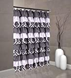 spring Home Waterfall Ruffled Fabric Shower Curtain (Royal Damask)